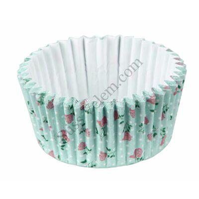 50 db Zenker kék alapon virág mintás muffin papír