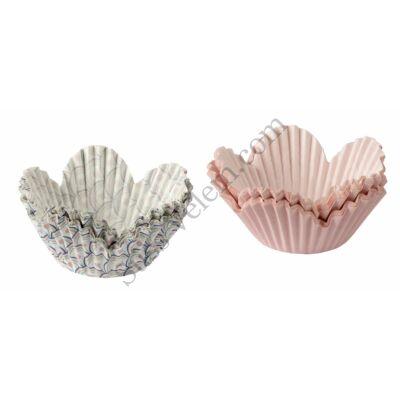60 db rózsaszín és pávatoll mintás Dr Oetker tulipános muffin papír