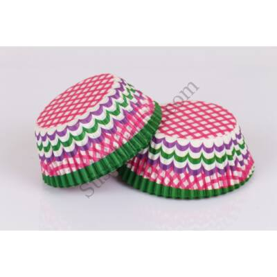 48 db zöld, pink, fehér és lila kockás és csíkos muffin papír