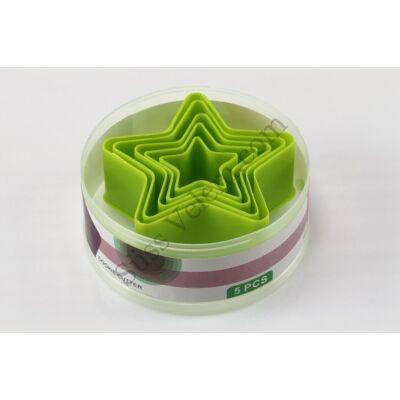 5 db csillag alakú műanyag sütikiszúró dobozban