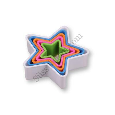 5 db-os színes csillag alakú műanyag süti kiszúró készlet