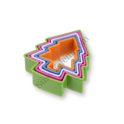 5 db-os színes karácsonyfa alakú műanyag süti kiszúró szett