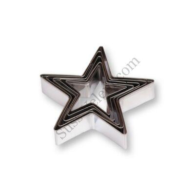 5 részes fém 5 ágú csillag süti kiszúró készlet