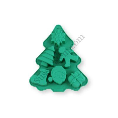 6 adagos fenyőfa alakú karácsonyi szilikon muffin forma