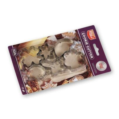 6 részes kis méretű fém sütikiszúró készlet hópehely, lóhere, kereszt, tojás, virág és hold mintával