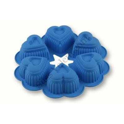6 szív szilikon muffin forma