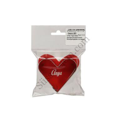 7 cm-es fém szív alakú sütikiszúró Anya feliratos csomagolásban