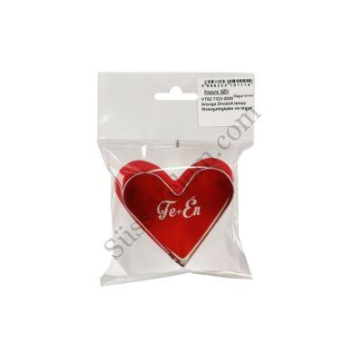 7 cm-es fém szív alakú sütikiszúró Te+Én feliratos csomagolásban