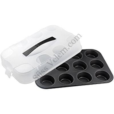 12 adagos Zenker muffin sütőforma tetővel
