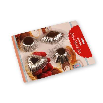 8 részes mini sütőforma készlet 4 -féle E minta