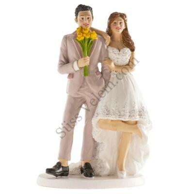 BRÜSSZEL Vidám nászpár esküvői tortadísz
