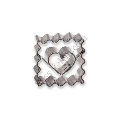 Hullámos négyzet alakú szív közepű minilinzer kiszúró