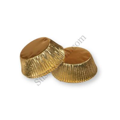 40 db arany színű fényes muffin papír