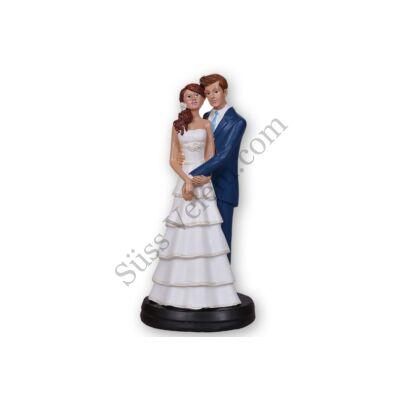 Átkarolós nászpár esküvői tortadísz