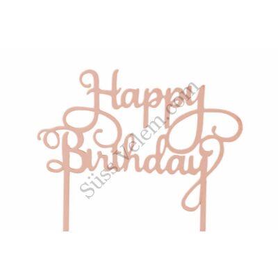 Barckszínű Happy Birthday felirat tortadísz sziluett