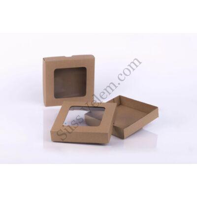 Barna 14*14 cm-es ablakos rekesz nélküli bonbon doboz