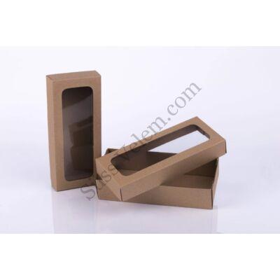 Barna 19*8 cm-es ablakos süteményes doboz