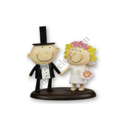 Cilinderes pár vicces esküvői tortadísz