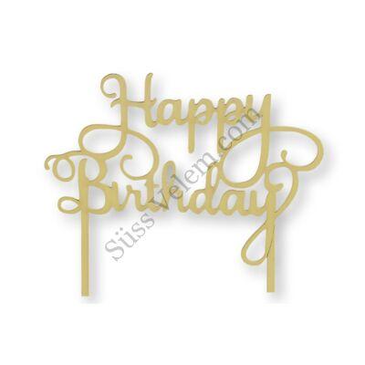Citromsárga Happy Birthday felirat tortadísz sziluett