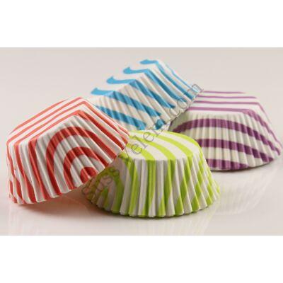 Csíkos élénk színű muffin papír 80 db