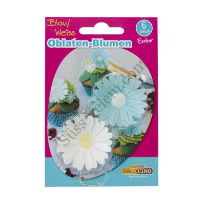 DecoCino fehér és kék ostyavirág 6 db