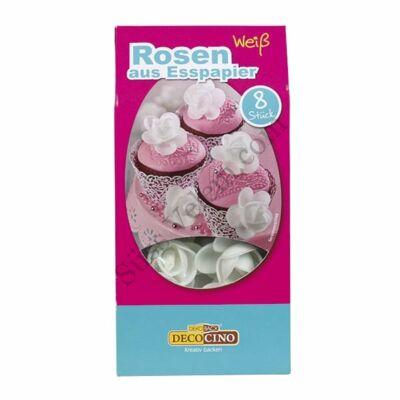 DecoCino fehér rózsa ostyavirág 8 db