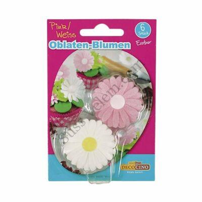 DecoCino fehér és rózsaszín ostyavirág 6 db