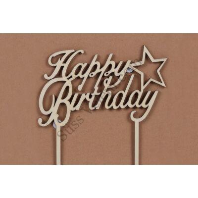 Fa Happy Birthday beszúró tortadísz
