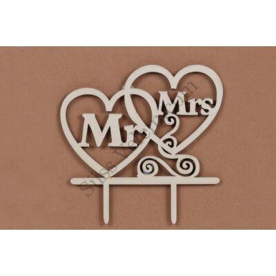 Fa Mr. & Mrs. Esküvői beszúró tortadísz