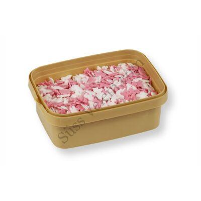 Fehér és rózsaszín unikornis tortadekoráció cukorkonfetti 150 g