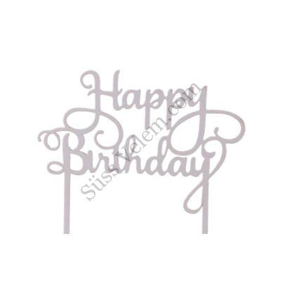 Fehér Happy Birthday felirat tortadísz sziluett