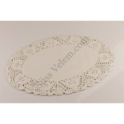 Fehér ovális tortacsipke 34,5*26 cm 25 db
