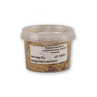 Fehércsokoládés sós karamellás praliné töltelék