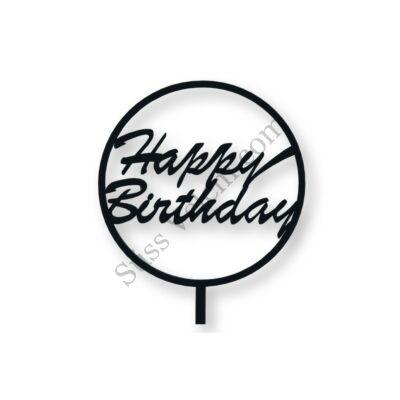 Fekete kerek Happy Birthday feliratos tortadísz sziluett