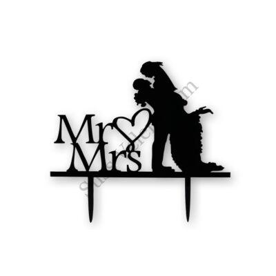 Fekete Mr & Mrs esküvői tortadísz beszúró magasba emelős (sziluett)