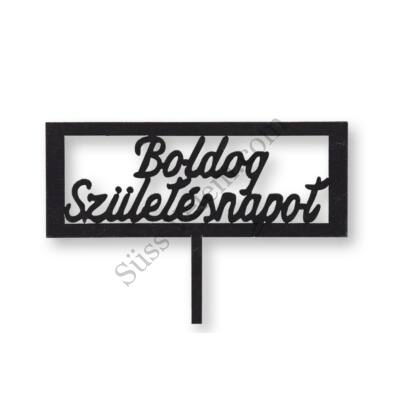 Fekete téglalap alakú Boldog születésnapot feliratos sziluett tortadísz
