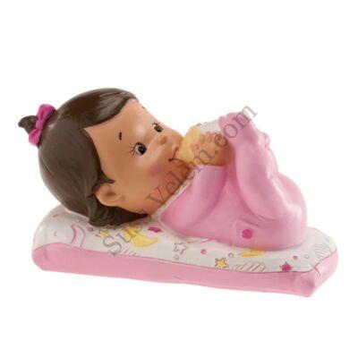 Fekvő kislány baba keresztelő tortadísz
