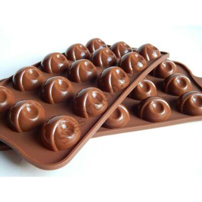 Csokoládébarna félgömb bonbon forma