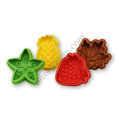 Gyümölcs és levél alakú keksz és fondant kiszúró