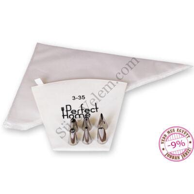 Habzsákos tortadekoráló szett kezdőknek (35 cm-es textilhabzsák, eldobható habzsák és 6 részes díszítőcső)