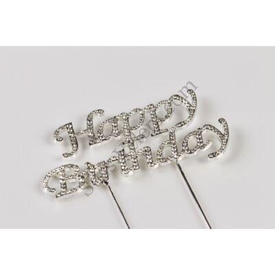 Happy Birthday strasszos szülinapi tortadísz