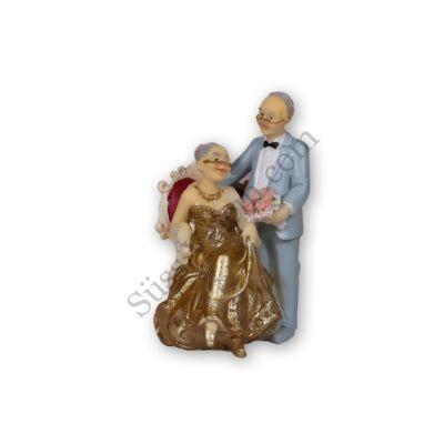 Idős pár (ülő) tortadísz házassági évfordulóra