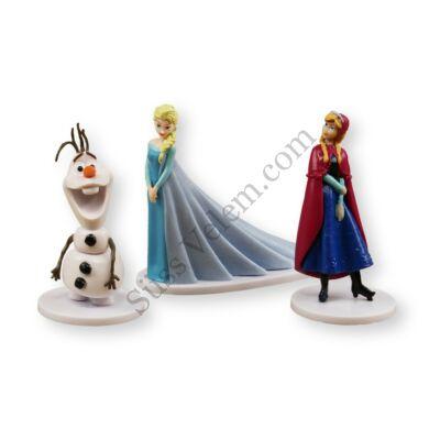 Jégvarázs tortadíszítő figurák 3 db (Elsa, Anna, Olaf)