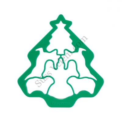 Karácsonyi mézeskalács kiszúró rács angyal, rénszarvas, bárány és fenyőfa mintával Tescoma Delicia