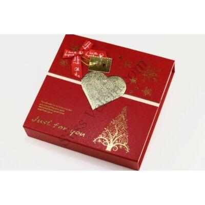 Karácsonyi piros bonbonos doboz