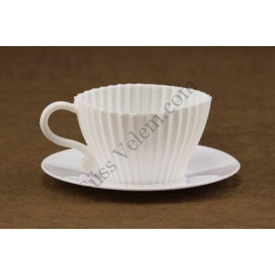 Kávéscsésze alakú szilikon muffin sütőforma alátéttel 4 adagos