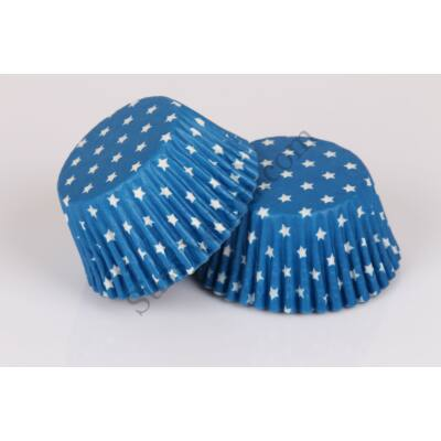 Kék alapon fehér csillagos muffinpapír 80 db