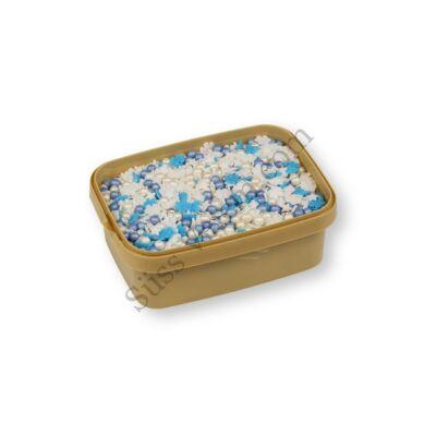 Kék, fehér ezüst tortadíszítő cukorgyöngy mix 200g