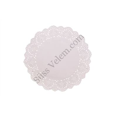 15 db 21,5 cm-es kerek fehér tortacsipke
