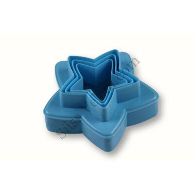 Kétoldalú műanyag csillag sütikiszúró készlet 3 részes